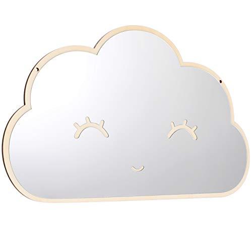 BESPORTBLE 1 Pieza Espejo de Nube Sonriente Espejo Acrílico Pegatinas de Pared Espejo de Madera Pegatina de Pared Habitación Infantil Dormitorio Decoración del Hogar