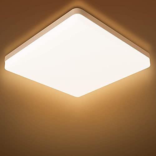 Combuh Plafoniera LED Impermeabile IP56 20W 1600Lm Lampada da Soffitto per Cucina, Bagno, Ufficio, Portico, Esterno, Garage Bianco Caldo 3000K Piazza 20 * 20 * 4cm