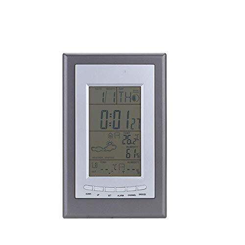 HOOBBI Wireless Digital Wetterstation Wecker Wettervorhersage Temperatur-Feuchtigkeits-Digital Display mit Innen/Außen-Thermometer-Hygrometer