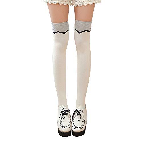 Kniestrümpfe für Frauen, 3Pcs Damen über Knie-Schenkel-Socken Kniehohe Socken Hohe Oberschenkel Strümpfe hohe Stiefel-Schenkel-Damen-Socken Wellenmuster Hält Dich in Mode