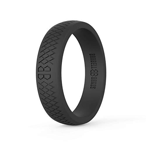 Barbell Bands Silikonring für Damen | Premium Gummi Ehering | Perfekt für Fitness, Lifting, aktiven Lebensstil – Bequem und Langlebig (Schwarz, 9)