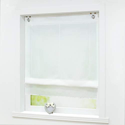 Joyswahl Voile Raffrollo mit Hakenaufhängung, ohne Bohren »Hanna« Schals Fenster Unifarbige Vorhänge BxH 80x150cm Weiß 1er Pack