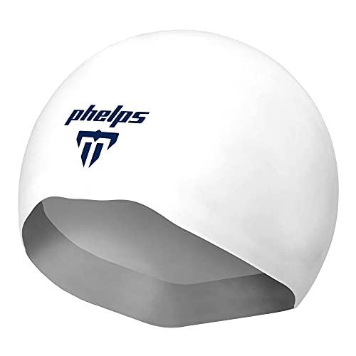 Aqua Sphere MP Michael Phelps X-02 - Gorro de natación para adulto para natación de competición, color blanco, mediano, Elite Competition Swim Caps