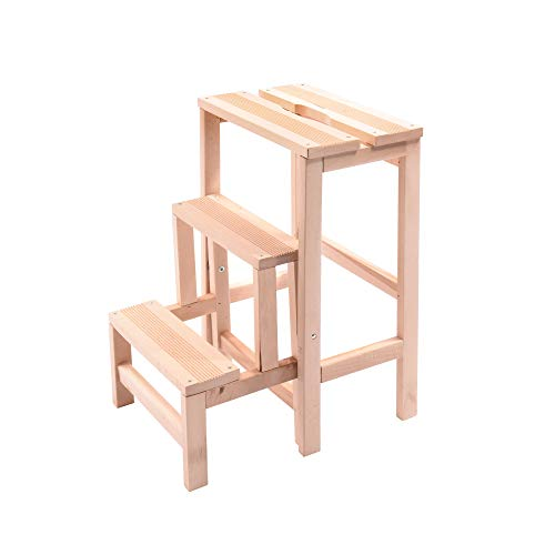 House Collection - Taburete con Escalera de Madera Natural,