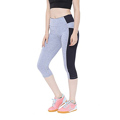 CHKOKKO Women Yoga Gym Sports Workout Capri Blue XL