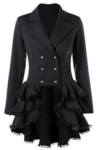 Fortunezone Damen Steampunk Gothic Mantel Barock Jacke Damen Barock Frack Anzug Viktorianisch XXL