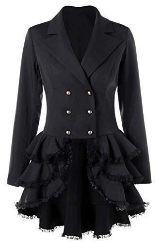 Mujer Abrigo Victoriano con Volantes Esmoquin Plisado de Manga Larga Gotica Abrigo Vintage con Cordones en la Espalda, L