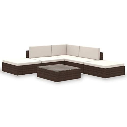 vidaXL Conjunto de Muebles de Jardín 15 Piezas Ratán Sintético Marrón y Blanco