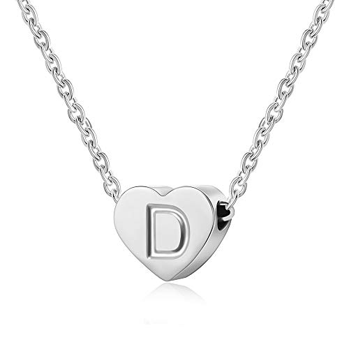 AFSTALR Letter Initial Necklace Girls Women Silver Personalized Tiny Initial Alphabet Love Choker Necklace Gifts, Silver Letter D Necklace