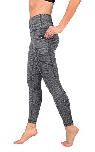 90 Degree By Reflex Womens Power Flex Yoga Pants - Ash Charcoal Space Dye - Large