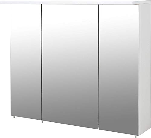 Schildmeyer 126760 Spiegelschrank, melaminharzbeschichtete Spanplatte, Weiß, 80 x 16 x 71-75 cm
