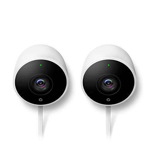 Nest Cam Outdoor Security Camera 2 pack, Works with Alexa