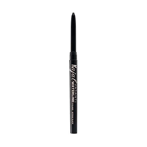 Kajal Extreme Eyeliner Pencil by VASANTI - Intense Black Eyeliner with Built In Sharpener and Smudger - Waterproof, Paraben Free