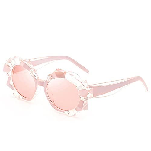 N\C Gafas de sol redondas de diamantes de imitación de diamante de gran tamaño, marco retro redondo
