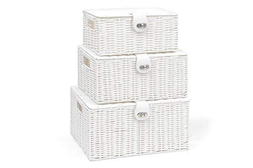ARPAN, Aufbewahrungskorb-Set mit Deckel & Schloss, Weiß, Kunstharz, gewebt, 3Stück, weiß, Large, Medium, Small