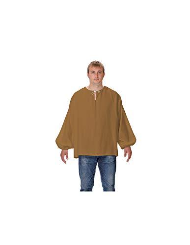 DISBACANAL Camisas Medievales de mesonero - Marrn, Adulto