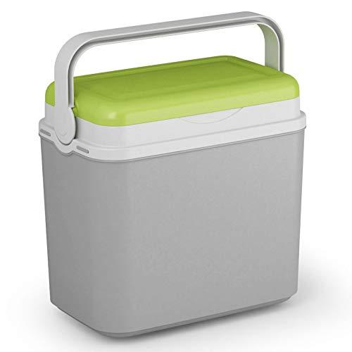Kühlbox Kühltasche Kühlbehälter mit Deckel für Getränke Flaschen Speisen klein 10 Liter grau grün Camping Auto LKW Sport Garten Reise Strand Picknik Caravan Wandern robust passiv Kühlboxen Styropor