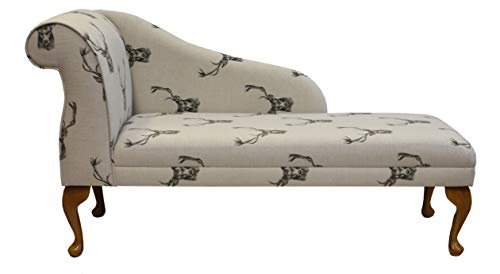 "52"" Chaise Longue - Sofa Day Bed - Stags Cotton Print Beige Fabric With Queen Anne or Straight Tapered Legs"