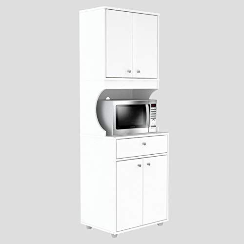 Inval Galley Kitchen/Microwave 1-Drawer/4-Door Storage Cabinet with Open Space White