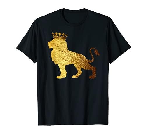 Gold Crown King Lion T-shirt for Men-Cool Boys Lion Shirts