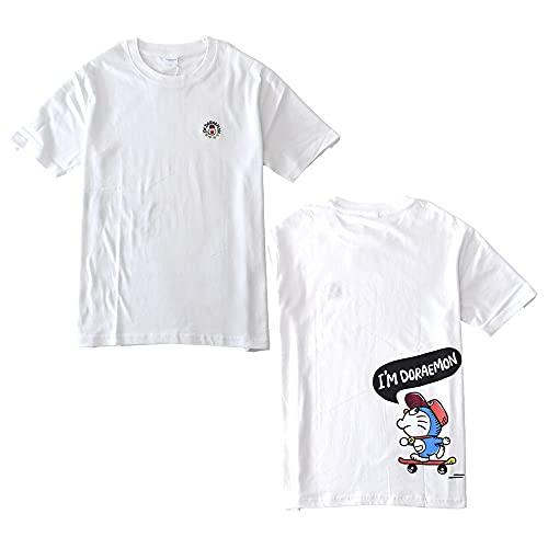 (アルージェ) ARUGE I'mドラえもん 半袖Tシャツ メンズ 綿 ドラえもん ミニどら ジャイアン 刺繍 / C6G / L C09ホワイト:バックスケボー