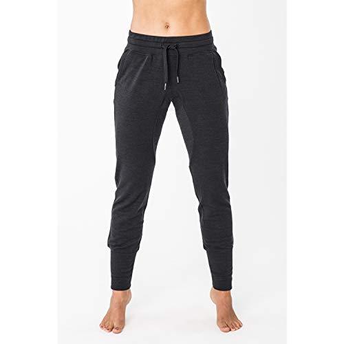super.natural Pantalon de Jogging Confortable pour Femmes, Laine mérinos, W ESSENTIAL CUFFED PANT, Taille: L, Couleur: Noir chiné
