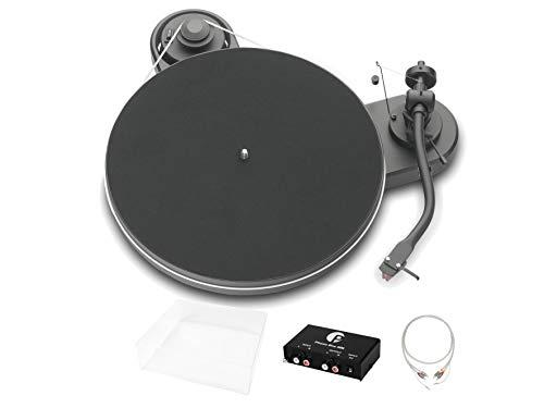 Pro-Ject RPM 1.3 Genie Superpack, Audiophiles Einsteigerset mit Plattenspieler, Phonovorstufe, Abdeckhaube und Kabel, Matt Schwarz