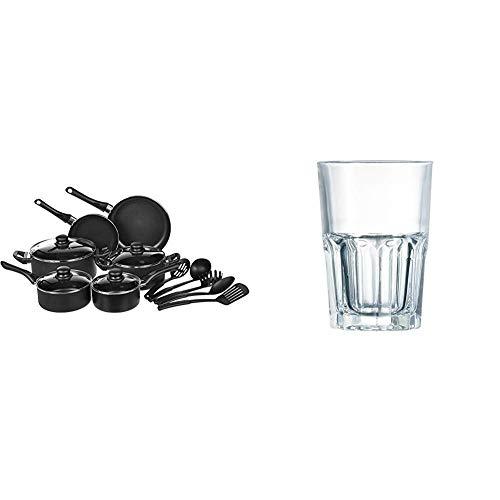AmazonBasics Juego de utensilios de cocina antiadherentes, 15 piezas + Luminarc Vasos, Vidrio sodo, Set de 6