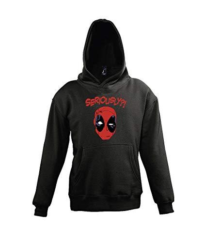 Youth Designz - Felpa con cappuccio per bambini, modello Deadpool Seriously? Nero 11-12 Anni