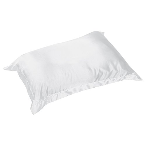 Kathlen Funda de Almohada -48 * 74cm Verano Satén Sedoso Funda de Almohada Suave Cómoda Funda de Almohada Protector sólido Suave(Blanco)