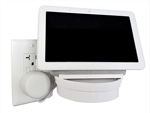 The Google Home Hub Nest Hub [Gen 1 and Gen 2] Mount for Electrical Outlets. Full Swivel. Installs in Seconds. Hidden Cord Storage. Award Winning Design.
