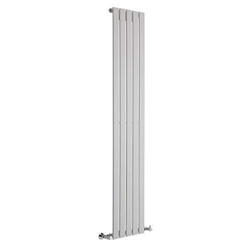 Hudson Reed Radiador de Diseño Moderno Vertical Delta - Radiador con Acabado Blanco - Paneles Planos - 1780 x 350mm - 823W - Calefacción
