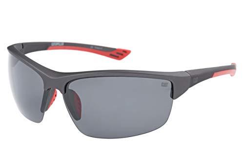 Caterpillar Men's Thermo 108P Polarized Wrap Sunglasses, Dark Grey, 71 mm