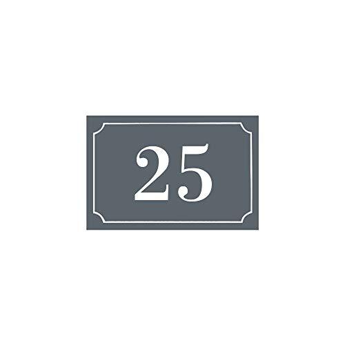 Hausnummern/Straßennummer, personalisierbar, Farbe grau, weiße Zahlen, Außenschild, Kunststoff, 8 Stück