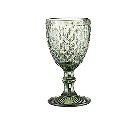 Takagawa HHH 1 unids Alivio Copas de Vino Taza de Beber Banquete Banquete Vino Retro Diamante Champagne Jugo de Cristal Bebida Copa 240ml 8oz HHH (Capacity : 300ml, Color : Diamond Green)