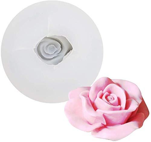 DUBENS 3D Rose Blume Kerze Formen, Rose Geformt Handwerk Kunst Silikon Form für Fondant Kuchen Dekoration, Der Bienenwachs Kerze Handgemachte Seife Lotion Bar Kreide Wachs Gips (D)