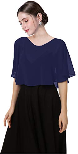 Soft Chiffon Capes Shawls Wraps Shrugs for Dresses Women Capelets Accessories (Navy)