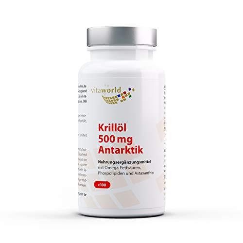 Pack de 3 Aceite de krill 500mg 3 x 100 Cápsulas Vita World Farmacia Alemania - EPA - DHA - Omega 3