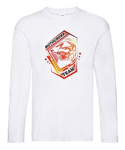 Camiseta de manga larga con escudo del equipo de motocross, manga larga, unisex, para niños y niñas Blanco 140