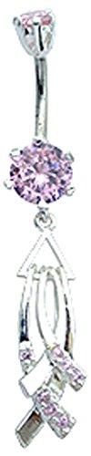 BodyTrend Anelli per ombelico usiamo i migliori cristalli di zirconia cubica di qualità mano Set e lucidato a mano–acciaio chirurgico asta 3/8'(10mm), rosa zaffiro, cod. BELNAV368-PK-10mm