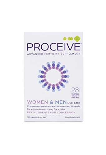 Proceive Advanced Fertility - Pregnancy Vitamin Supplements - Vegetarian - for Men & Women - Dual Pack 120 Tablets