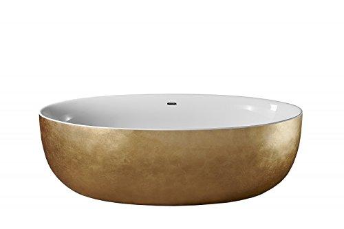 Bernstein Badshop Freistehende Badewanne TERRA Acryl Gold - 186 x 88 cm - Ovale Standbadewanne mit Blattgold-Oberfläche
