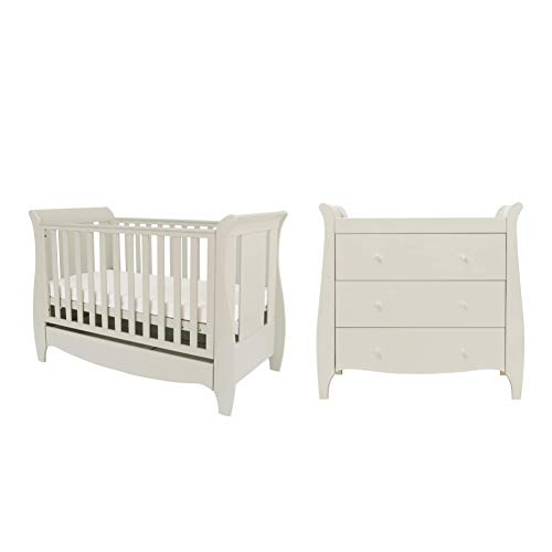 Tutti Bambini Roma Nursery Furniture Set | Space Saver Baby Cot Bed and Sleigh Design Chest of Drawers | Solid Wood Furniture (Linen) Two Piece (Space Saver)