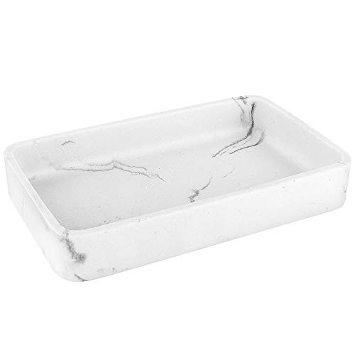 Luxspire Wasserdicht Harz Tablett, Tragbar Rechteckig Kosmetisch Palette Ablagefach Schale für Kosmetisch Shampoo Spülung Handtuch - Weißer Marmor
