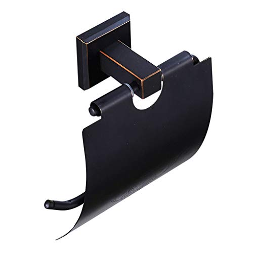 LINA Porte-Papier hygiénique en Laiton, Porte-Serviette en Papier Bronze Noir, Porte-Rouleau américain, Pendentif en matériel de Salle de Bains Noir