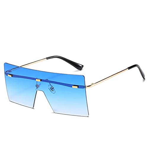 AMFG Personalidad sin llanta gafas de sol femenino de moda gran marco gafas de sol Visor de viaje espejo de conducción (Color : B)