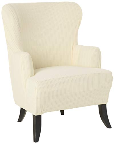 SureFit Home Decor Stretch Pinstripe T-Cushion Wing Chair One Piece Slipcover, Form Fit, Polyester/Spandex, Machine Washable, Cream Color