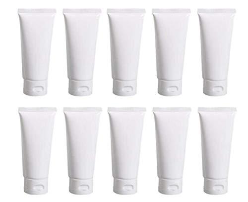 20 tubetti vuoti ricaricabili, in plastica, colore: bianco, per cosmetici, creme, shampoo, detergente viso, campioncini di cosmetici, contenitore morbido con coperchio a scatto