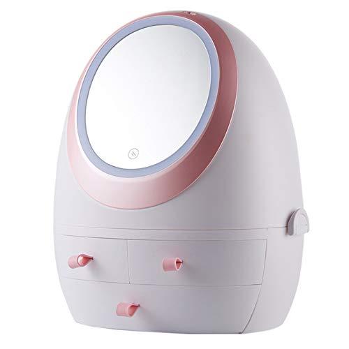 W-Lynn Kosmetik-Aufbewahrungsbox, LED-Make-up-Spiegellicht, 360 ° drehbare Make-up-Aufbewahrungsbox, staubdichtes Desktop-Regal für Hautpflegeprodukte, LED-Make-up-Spiegel und 3 Schubladen,White-B