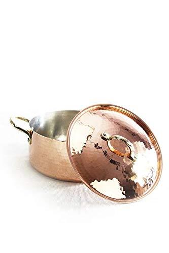 CopperGarden Kupfertopf mit Deckel + Handgriffen aus Messing 2,5 L I Gehämmerter Kupferkochtopf aus verzinntem Kupfer: Perfekte Wärmeleitung und -verteilung I Robuster Kupfer Topf 100prozent lebensmittelecht